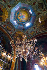 Chandelier and ceiling art