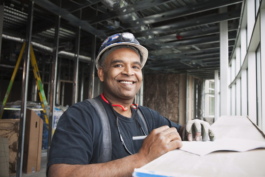Mixed race worker on construction site