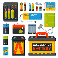 Group of different batteries vector icons
