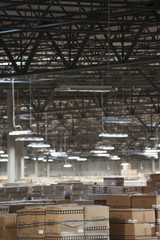 Tops of boxes in warehouse