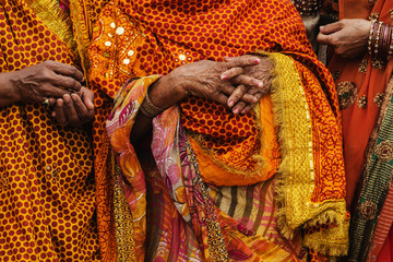 Women wearing traditional Indian clothing at festival, Allahbad, Uttar Pradesh, India