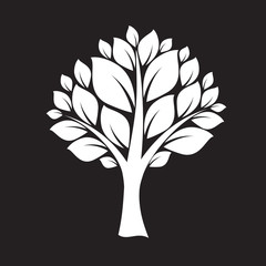White Tree and Big Leafs. Vector Illustration.