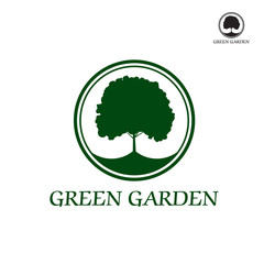 Green vector tree in border. Graphic element.
