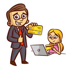 Businessman Woman Credit Card