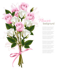 Fototapete - Beautiful bouquet of pink and white roses. Vector