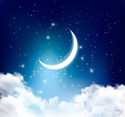 Night sky background with with crescent moon, clouds and stars.