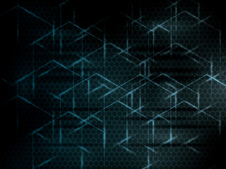 Hexagon abstract science technology blue background.