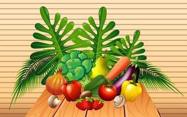 Vegetables and fruits on the table