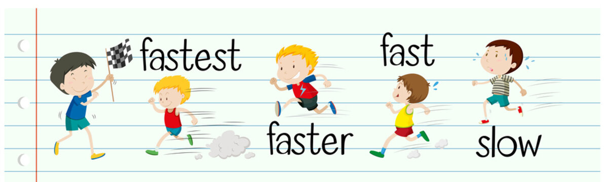 Opposite adjectives fast and slow
