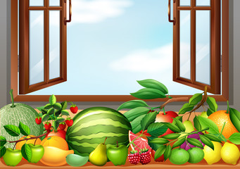 Different types of fruits on the table