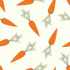 Бесшовный узор морковь на белом фоне