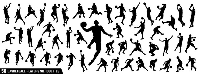 Vector set of Basketball players silhouettes, Basketball silhouettes