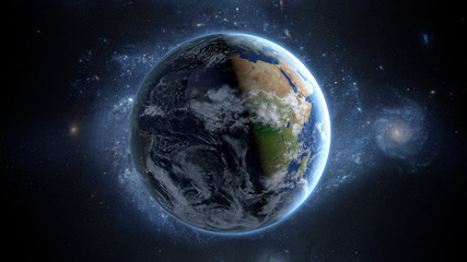 Planet Earth as seen from space. With stars background. 3d rendering