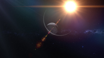 Moon in the space. Sunrise. 3d rendering