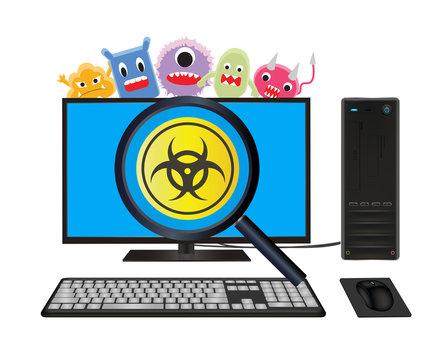 desktop computer with virus computer scanning