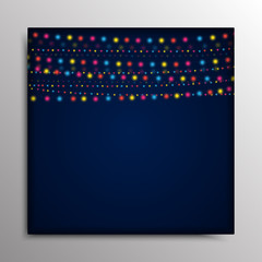 Garland on a blue background.  Eps 10.