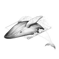 The Big Whale Jump. Sketch Artwork, Creative Idea, Innovative art, Concept Illustration, Tattoo Design.