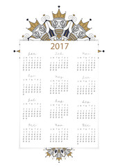 vector, 2017 calendar all 12 month on white background decoratio