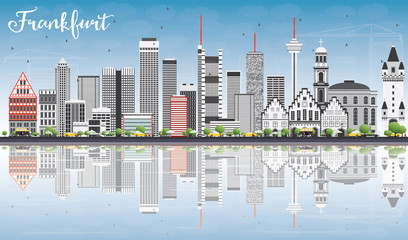 Frankfurt Skyline with Gray Buildings, Blue Sky and Reflections.