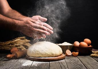 Wall Mural - Man Making bread