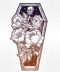 Decorative coffin in flash tattoo style.