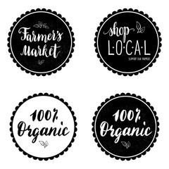 Set of four labels, stickers with hand written farmer's market, shop local text. Badges. Vector.