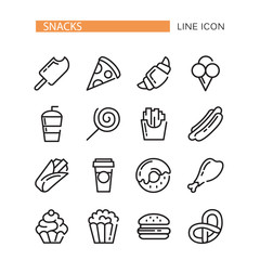 Fast food. Set of lined vector icons.