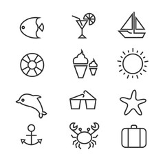Summer holiday, tropical beach thin line vector icons