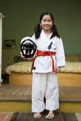 Japanese girl in karate uniform