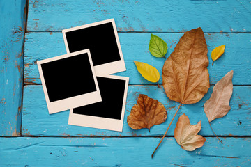 Autumn background with dry leaves and blank photo frames