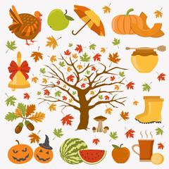 Autumn icon set. Halloween and Thanksgiving day. Flat design