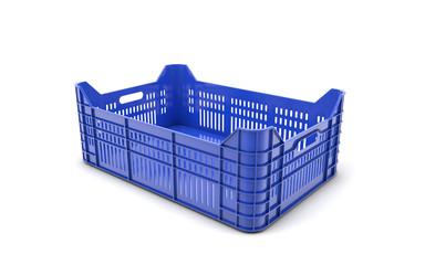 Blue plastic crate. 3d rendering