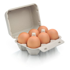 Six eggs in a carton package