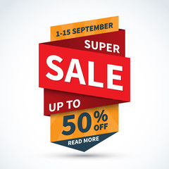 Super sale banner. Discount label. Up to 50 percent off vector background. Half price colorful sticker. Special offer concept. Shopping badge
