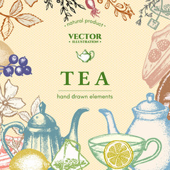 Tea vector card design ink hand drawn illustration