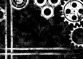 Vector geometric background. Grunge black and white template with mechanism of watch, brushstrokes with space for text, border. Graphic illustration.