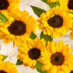 Seamless sunflowers (photo) on old ephemera (mixed media)