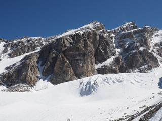 Snow and rock in the Caucasus mountain
