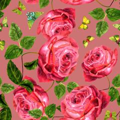Seamless pattern with vintage style red roses and green butterfl