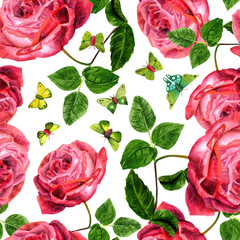 Seamless pattern with vintage style red roses and butterfles