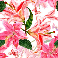 Seamless pattern with watercolor lilies and butterflies
