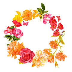 Vintage decorative wreath with watercolor drawings of roses