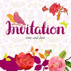 Vector invitation with vintage birds, flowers and butterflies