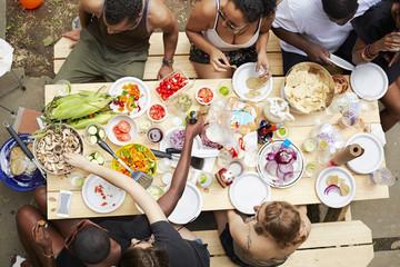 High angle view of friends enjoying backyard barbecue
