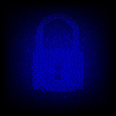 Security concept. Binary code lock symbol on the digital high tech style vector background.
