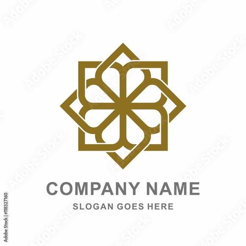 Geometric Morocco Ornament Interior Decoration Square Flower Vector Logo Design Template