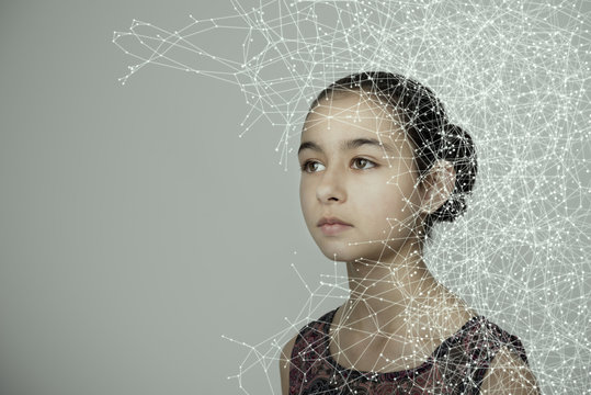Mixed race girl with spider web pattern