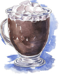 Cup of hot chocolate, cocoa or coffee with marshmallow drawn by ink and watercolor. Hand drawn vector  illustration.
