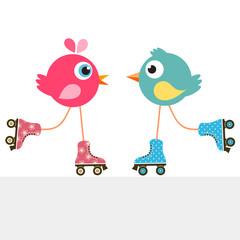 birds on roller skates