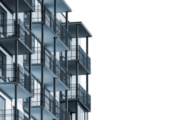 Modern apartment building with balconies isolated on white background to ad text Wall mural
